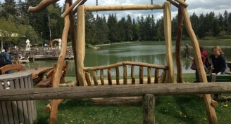 Wooden play structures by the log cabin Brunarica Bloško jezero, protected with the wood preservative Silvanolin